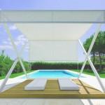 Gazebo moderno su bordo piscina con letti