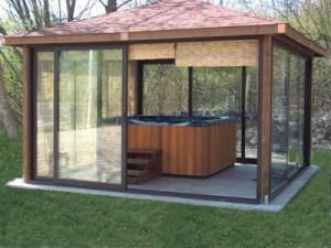 gazebo legno copertura porte scorrevoli in vetro
