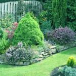 muretto in pietra nel giardino