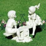 statua bambini da giardino in calcestruzzo