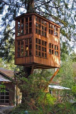 casa sull' albero in giardino
